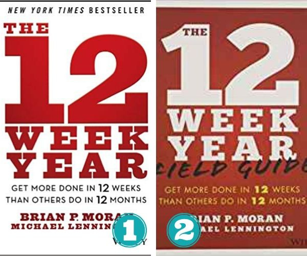 collage showing covers from The 12 Week Year book and workbook